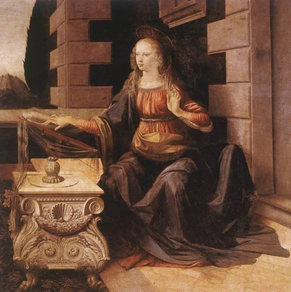 Leonardo da Vinci Annunciation detail2